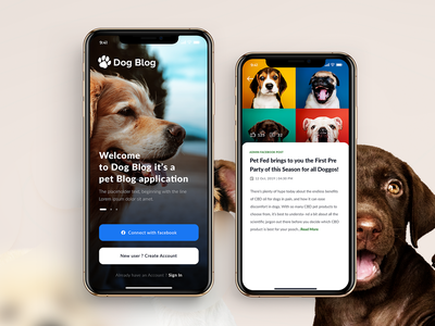 Dog Blogs - Mobile App ios mobileappdesign uidesign appdesign petapplication cat dog petblog petcare blogger