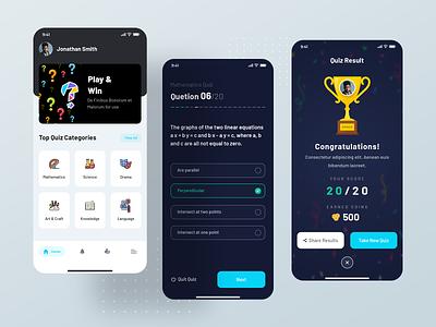 Quiz App - Mobile Application quizz quizresult ios android app reward answer questions quiz earncoins quiz app