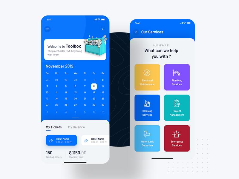 Tool Box - Home Services Application uiuxdesign ui design ios android clean app calendar app electronic cleaning service service app homeservice toolkit tools
