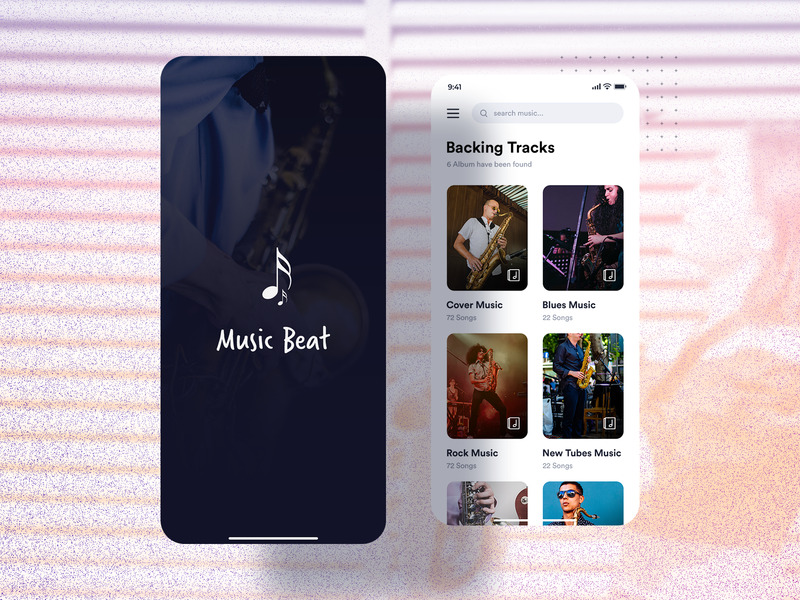 Music Beat | Mobile Application developement techgropse uiuxdesign clean ui iosappdevelopment guitar saxophone music player music music app