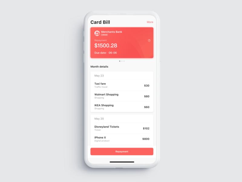 Credit card repayment bill app ui ux dailyui