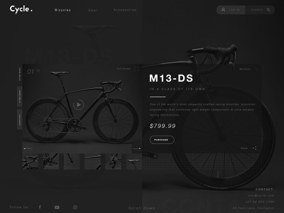 Bicycle UX UI Landing Page Concept design web ux ui ecommerce website landing page uxui