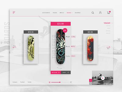 Skateshop Ux Ui ui concept design ecommerce website ux landing page