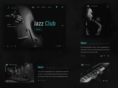 Jazz Club Design ux concept design web ui website design uxui landing page