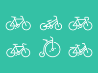 A set of bicycle icons