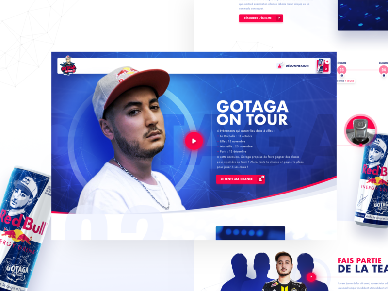 Red Bull — Gotaga On Tour game streamer tour twitch live french gaming stream