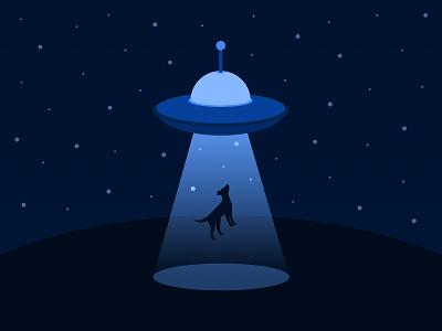 Dog Abduction dog night abduction ufo illustration