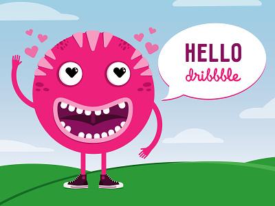 Hello Dribbble monster vector illustration