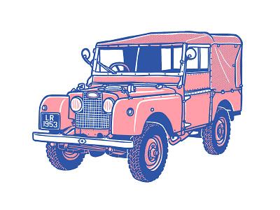 Landy series1 landrover design illustration handdrawn