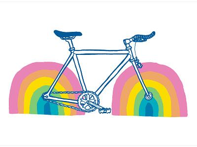 Rainbow Bike design illustration handdrawn