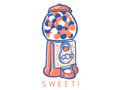 SWEET! red white and blue typography gumball machine gumball design illustration handdrawn
