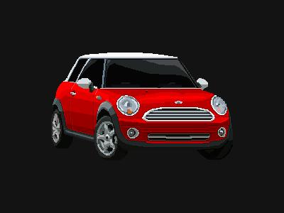 Pixel mini cooper red