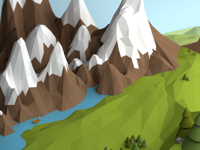 Mountains lowpoly in blender blender 3d lowpoly grass mountain water isometric geometric