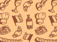 Hand Drawn French Icons Pattern