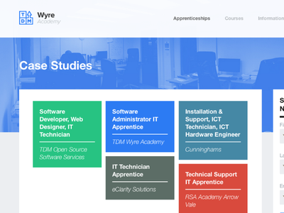 WA Site Rebrand: Case Studies Page casestudies web design webdesign blue masonry html css wyreacademy tdm