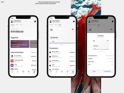 Nord - Finance App UI Kit banking finance ui design mobile design ui kit app ui kit bnd ios