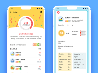 Nutrition app nutritional food and drink food app daily ui