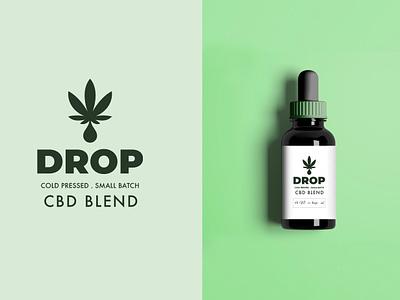 Drop cbd oil oil drops green icon logo packaging