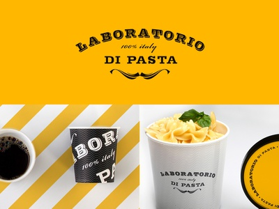 Laboratorio di Pasta restaurant food pasta yellow packaging italian logotype logo identity