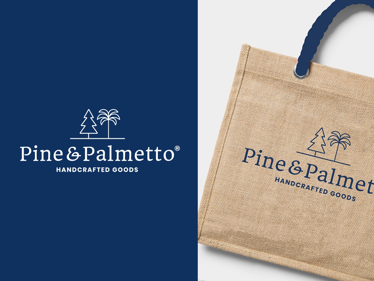 Pine & Palmeto logotypes tote logotype tree palm pine design identity trees craft logo