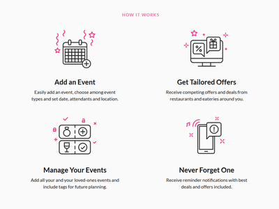 How It Works ui illustration line art flat notification offer event icons how to design landing page how it works