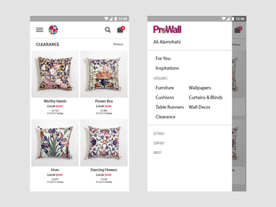 ProWall App interior home decor ui interface shopping store app