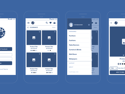 Prowall App Wireframe home decor android app attachment ux ui sketch layout interface blueprint wireframe