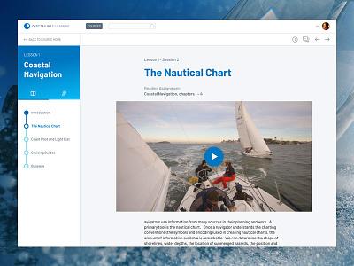 Sailing online learning platform ux ui side nav sidebar progress platform learning course lesson e-learning education
