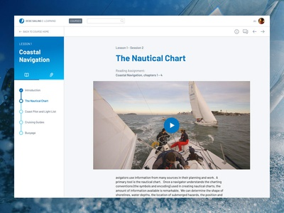 Sailing online learning platform ux ui side nav sidebar progress platform learning course lesson e-learning education