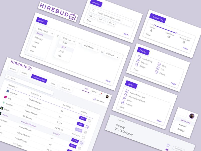 Hirebud purple select box filtering menu bar ux wireframe design logo internships wireframe