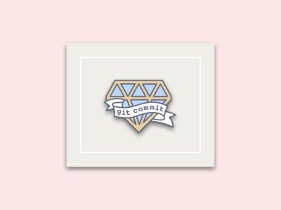 Git Commit? 💍 pink enamelpin enamel engagement proposal git ribbon diamond sketch illustration graphic