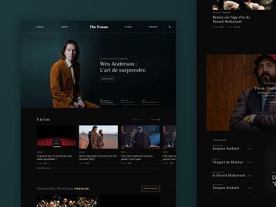 The Frame : Website Homepage black homepage cinematic blog magazine filmmaker film movie cinema ux design website web design concept webdesign ui design web ui