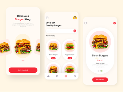Burger App 🍔 food delivery app app ui design user experience user interface ux design clean burgers food app design mobile app design mobile ui mobile app ui  ux food app app design ui design minimal ux ui burger app burger king