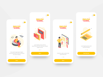 English App Onboarding Screens test courses ui design user experience design interface app ios minimal 3d e-learning kids learning app education onboarding screens onboarding product design mobile app ux ui