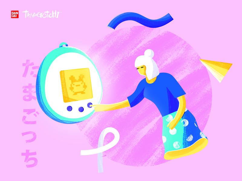 Tamagotchi Illustration pink tamagotchi branding photoshop illustrator vector illustration design color character art 2d