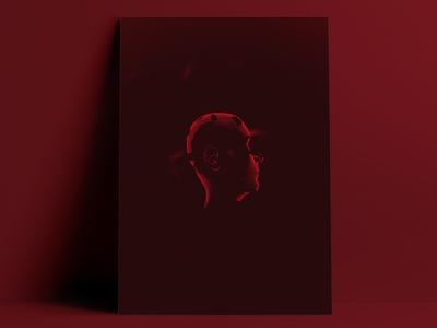 Impostor mind portrait cyborg post human human screenprint prints moody red face body digital artist illustration 3d art digital art concept art 3d
