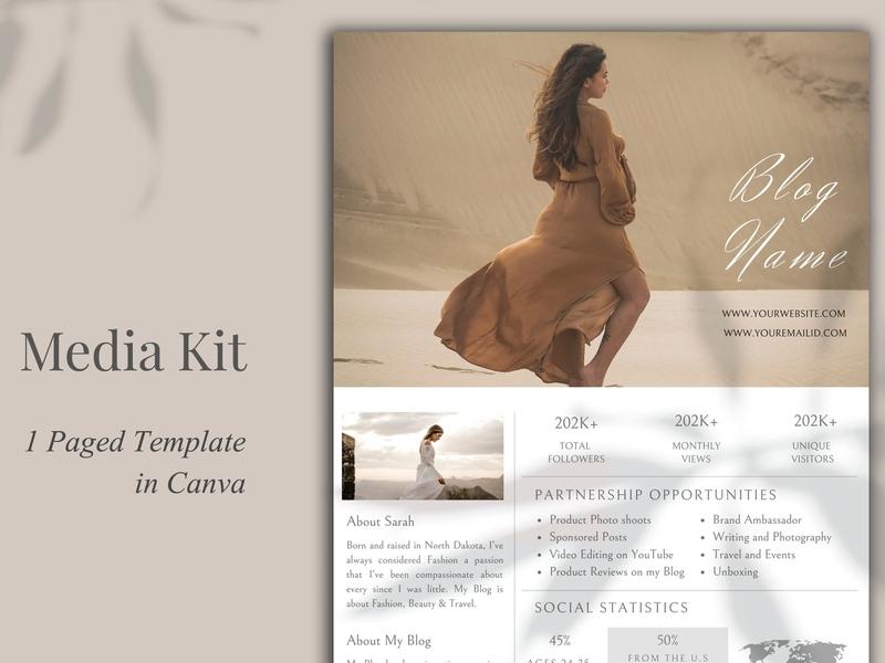 Media Kit Template, 1 Page, Canva canvas print canva template page download canva catalogue clean business elegant portfolio modern magazine branding brochure template