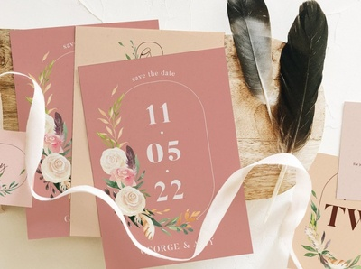 Nude & Terracotta Wedding Suite minimalist menu card suite wedding suite indesign clean business elegant portfolio modern magazine branding brochure design template wedding cards wedding card cards card wedding