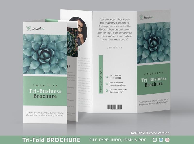 Minimal TriFold Brochure download brochure design trifold catalogue clean business elegant portfolio modern magazine branding brochure template