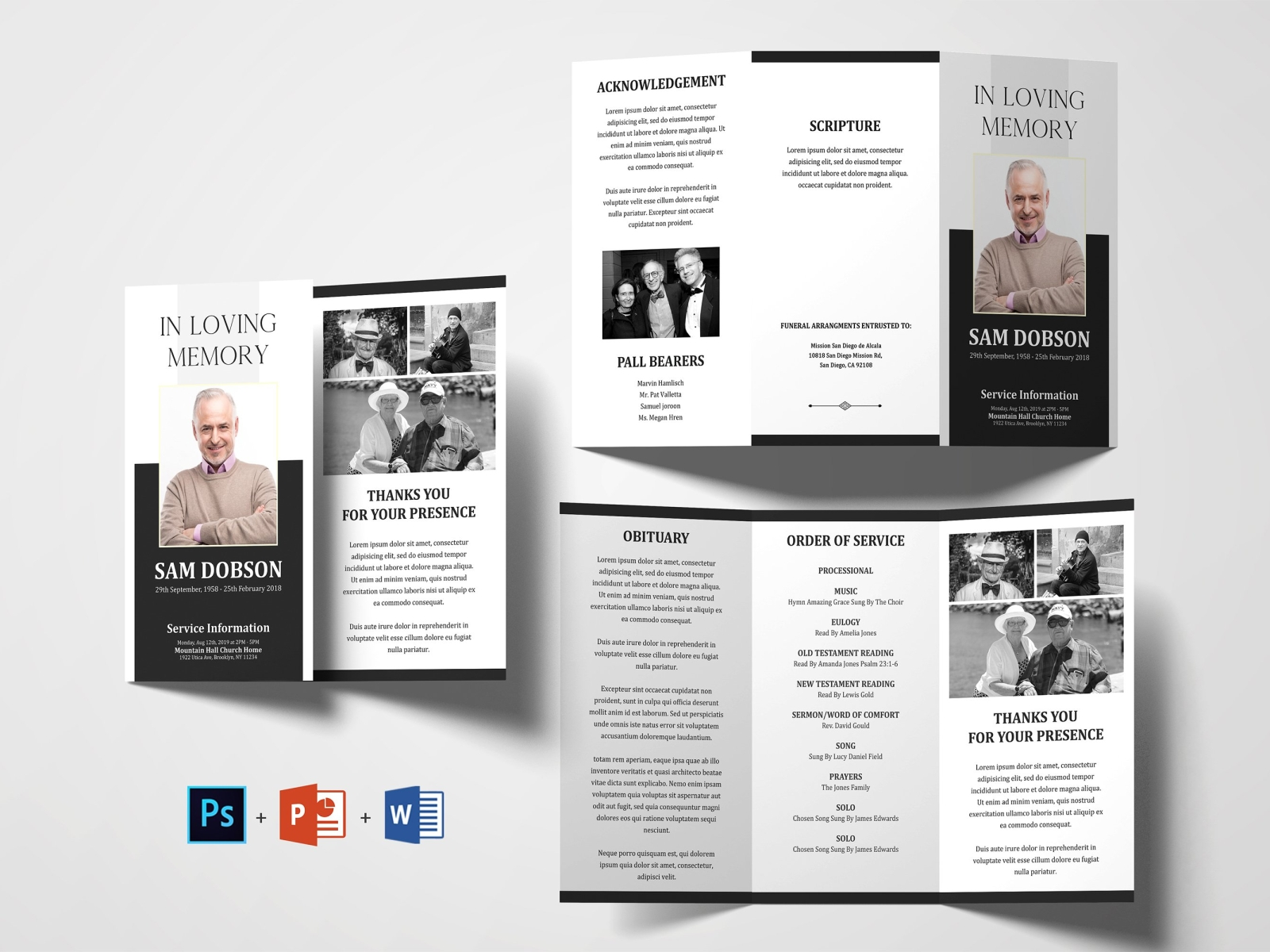Trifold Funeral Program Template Obituary Template By Brochure Design On Dribbble