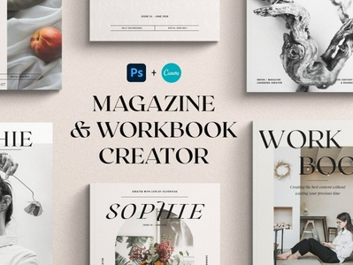 PS & CANVA eBook/Magazine Creator free download creator ebook canva catalogue clean business elegant portfolio modern magazine branding brochure template