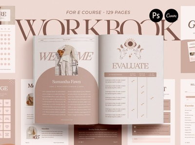 Wellness Workbook Creator | CANVA PS free download canva creator wellness lookbook indesign catalogue clean business elegant portfolio modern magazine branding brochure template