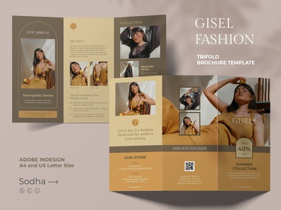 GISEL FASHION TRIFOLD BROCHURE TEMPLATE download templates brochure design trifold fashion catalogue clean business elegant portfolio modern magazine branding brochure template