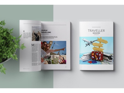 Traveller Magazine free download magazine ad catalogue clean business elegant portfolio modern magazine branding brochure template
