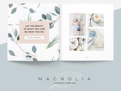 Magnolia Lookbook Template catalog catalogue branding portfolio flower clothing business elegant brochure template lookbook magazine