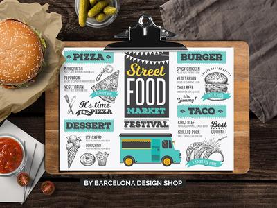Food Truck Menu standard fast food pizza festive food truck menu brochure menu food
