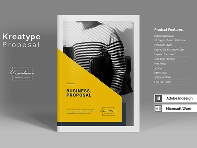 Kreatype Proposal clean yellow simple business creative template indesign template modern product brochure magazine