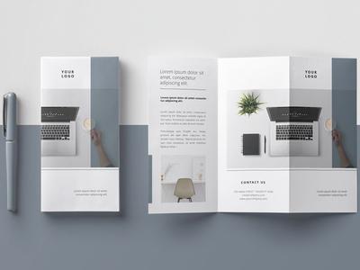 Minimal Trifold Brochure business illustration logo lookbook indesign modern elegant magazine branding brochure