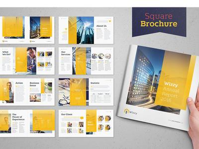 Wizzy Brochure - Square studio editorial catalogue modern indesign business magazine branding portfolio template brochure