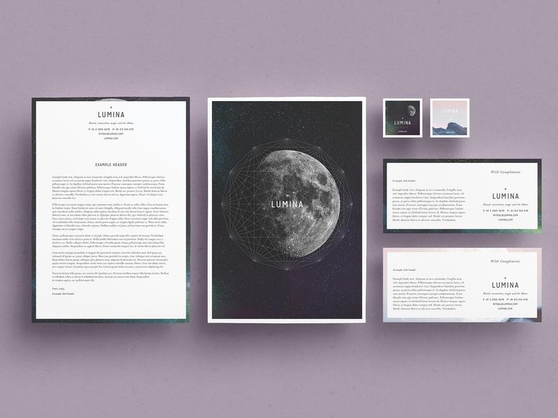 LUMINA Letterhead + Comps studio lookbook editorial catalogue indesign elegant modern business magazine branding portfolio template brochure